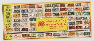 1956 Allied Mutual Casualty Des Moines IA license plate ink blotter - 48 states