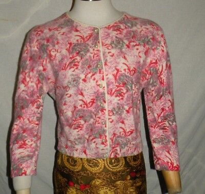 Vtg 60s  ANGELON BY DARLENE Screen Printed Pink Gray Floral Angora/Wool Cardigan