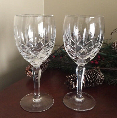 "Pair Of Vintage Crystal Gorham Mark Water / Wine Goblets Glasses ""lady Anne"""
