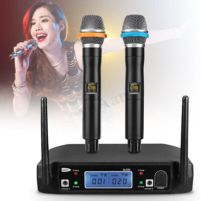 Pro Wireless 2-CH UHF Karaoke Microphone Mic System LCD Display Dual