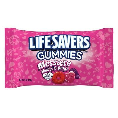 LIFESAVERS 9oz Bag MESSAGE HEARTS+RINGS Candy GUMMIES Valentines NEW! Exp. 8/19