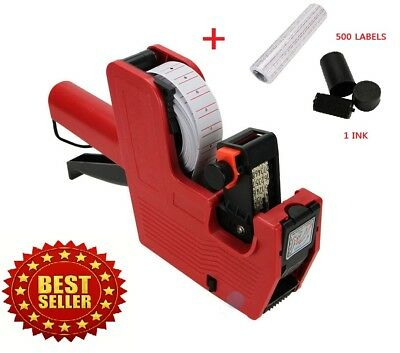 Price Tag Gun MX-5500 8 Digits EOS +5000 White w/ Red Lines Labels + 1 Ink