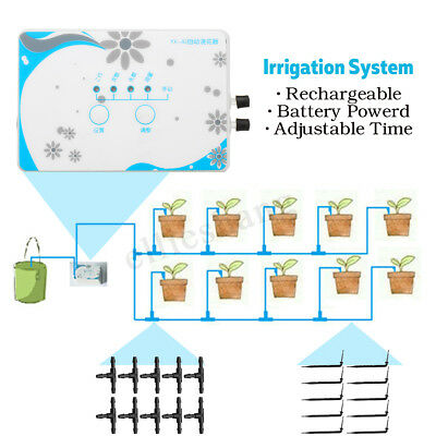 Drip Irrigation System Self Watering Timer Auto Rechargeable Controller Tube 10m
