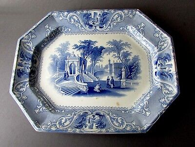 Antique W&GH 19th Century PATRAS Blue Transferware IRONSTONE PLATTER circa 1830