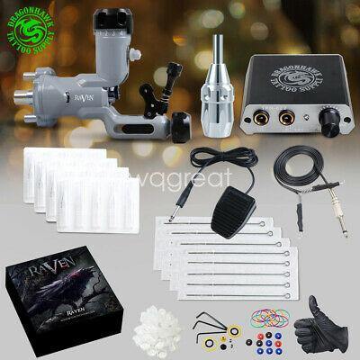 TOP Tattoo kit Airfoil Rotary Machine Gun Power Supply Needles Tip Grip D3051