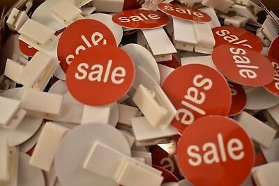 """SALE Clip On Tags Mini Red Plastic Circle Clips Sales Tags (25) Lot 1 1/2"""" diam"""