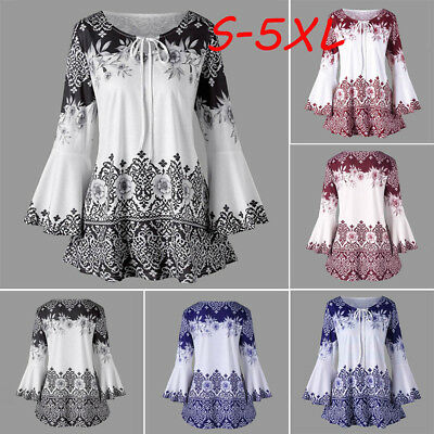 ff38a50b7 Women Long Sleeve Floral Flared T-Shirt Ladies Loose Tops Blouse Plus Size  LM
