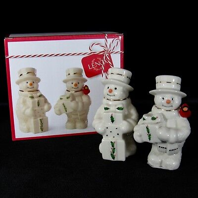Lenox Snowman Salt Pepper Shakers Set Happy Holly Days Christmas Holiday in Box
