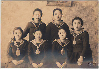Antique Photo / Six Young Women in School Uniforms / Japanese / c. 1930s