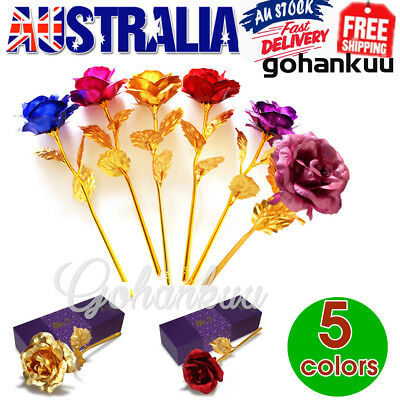24K Gold Plated Rose Flower Anniversary Mothers Day Girlfriend Romantic Gift GU