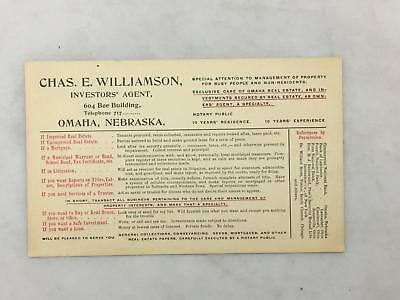 Advertising Business Card Chas E Williamson Investors' Agent OMAHA Bee Bldg