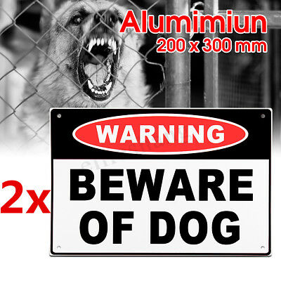 2x 20x30cm WARNGING SIGN BEWARE OF DOG Aluminium Security Safe House Outdoor