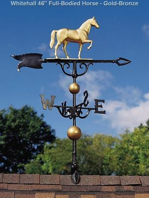 "Whitehall Weathervane 46"" Horse Full-Bodied + Mount Gold-Bronze Color FREE Ship"