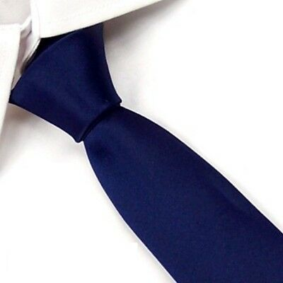 New Slim Solid Mens silk Tie groom wedding skinny Navy blue Necktie Sk04