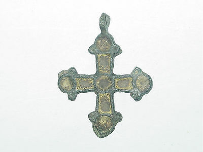 Viking  cross pendant. Bronze & yellow enamel. ca 10-13 century AD