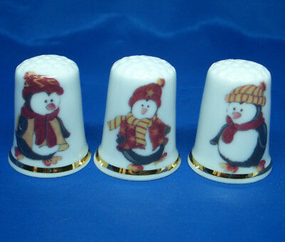 Fine Porcelain China Thimbles - Set Of Three Christmas Penguins