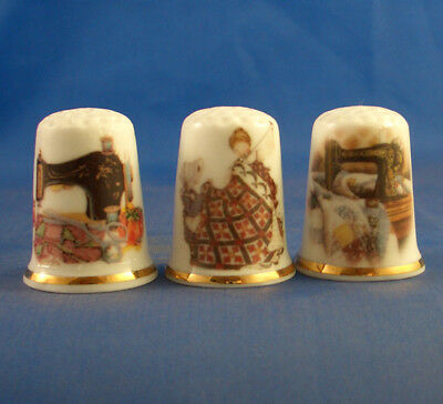 Fine Porcelain China Thimbles - Set Of Three Quilting