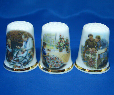 Fine Porcelain China Thimbles - Set Of Three Traditional Quiltmaking