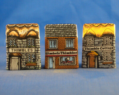 Fine China Thimbles - Set Of Three Miniature House Style -  Thimbles