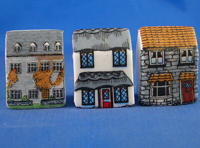 Fine China Thimbles - Set Of Three Miniature House Style - Town