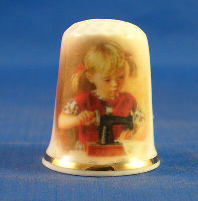 Fine Porcelain China Thimble - Girl In Red With Toy Sewing Machine -- Free Box