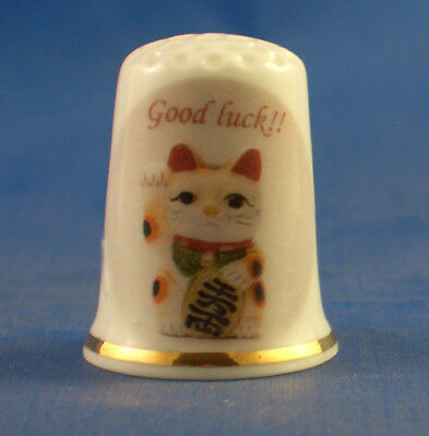 Birchcroft Porcelain China Thimble -  Good Luck Cat - Free Gift Box