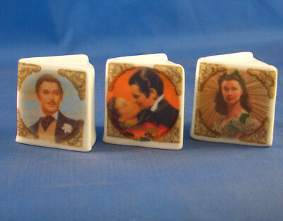Fine China Thimbles - Set Of Three Miniature Book Style -  Gone With The Wind