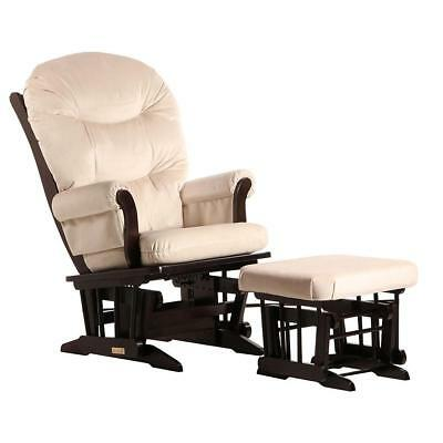 Dutailier Ultramotion- Sleigh Glider and Ottoman Combo - Espresso Finish and Lig