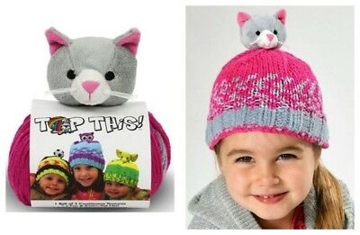 ** WINTER SALE ** DMC Top This Kitten Hat Yarn with Character and Pattern