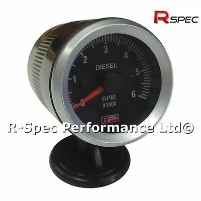 Black Face 52mm Rev Counter Tachometer Tacho RPM Gauge - Diesel Turbo TDI TD PD