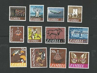 Zambia 1965. Decimal Currency Pictorial Definitive Set Of 12 Stamps. Mnh