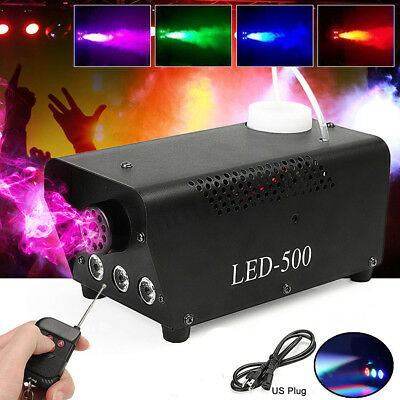 RGB LED Wireless Smoke Fog Machine 500W Remote Stage DJ Disco Party Club