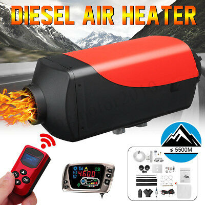 2KW 12V diesel Air Heater LCD Monitor 4500M Remote For Truck Boat Bus