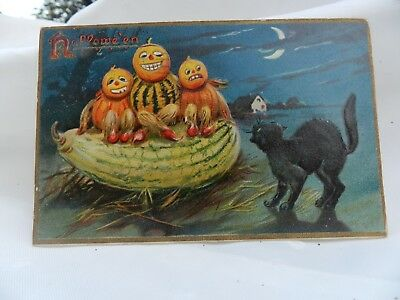 Vintage 1908 Raphael Tuck Halloween Embossed Postcard - Excellent