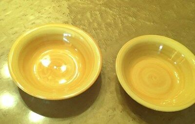 """pair of 2(Two) 8 1/8"""" Pasta/Soup Bowls YELLOW Swirl CITRUS GROVE   excellent"""