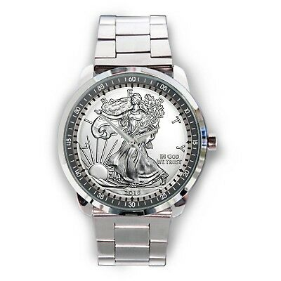2018 American Eagle Silver Coin 1 oz 999 Fine Silver Sport Metal Watch