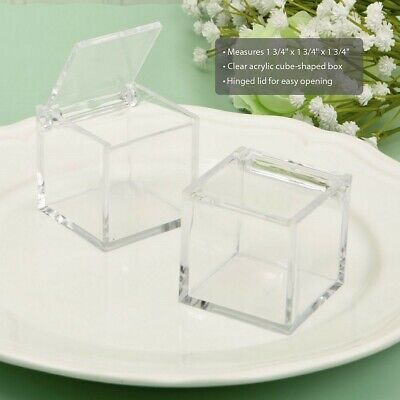 50 Clear Acrylic Cube Candy Box Wedding Bridal Baby Shower Birthday Party Favor
