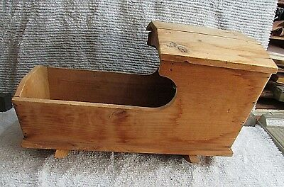 Primitive Antique Handcrafted Solid Pine Wood Rocking Doll Cradle w Top FREE S/H