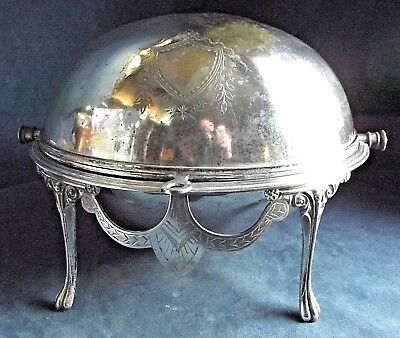 "SMART Large 14"" ~ SILVER Plated ~ Rollover SERVING Dish ~ c1900"