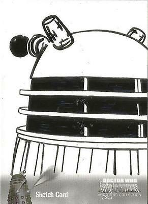 Dr Doctor Who Big Screen Additions Mono Sketch Card by Kevin Graham - A Dalek