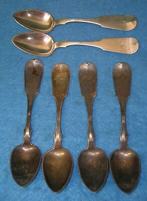 Set of 6 COIN SILVER SPOONS * HENRY KESSLER * READING PA BERKS * MD Monogram