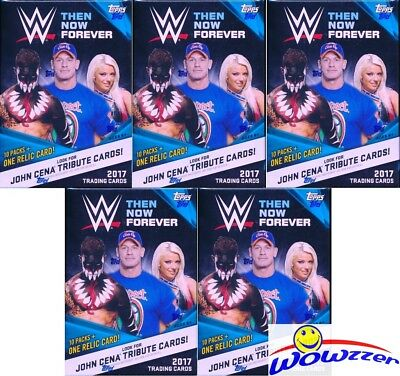 (5) 2017 Topps WWE Wrestling Then, Now, Forever EXCLUSIVE Sealed Blaster Box