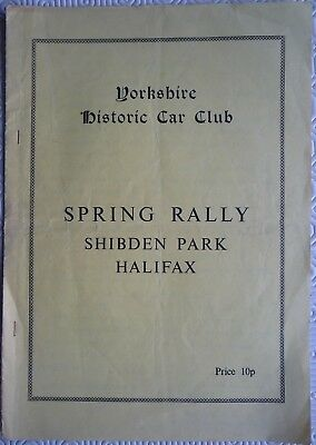 Yorkshire Historic Car Club Spring Rally programme, Shibden Park, Halifax