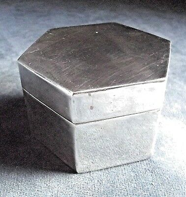 SUPERB Hexagonal ~ SILVER Plated ~ Trinket / Jewelry CASE ~