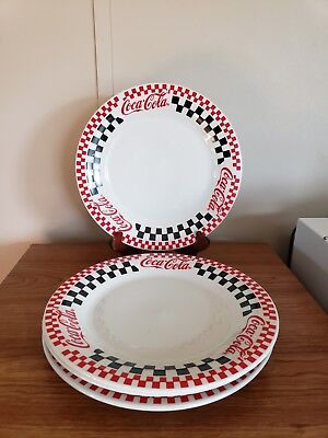 "Coke Coca-Cola 1996 10 1/2"" Dinner Plate Checker Board Gibson Racing Set of 4"