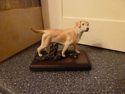 Albany  Labrador Dog Fine China And Bronze On Wooden Base