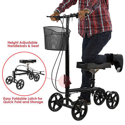 Clevr Foldable Steerable Knee Walker Aid Scooter Roller Alternative Crutch Black
