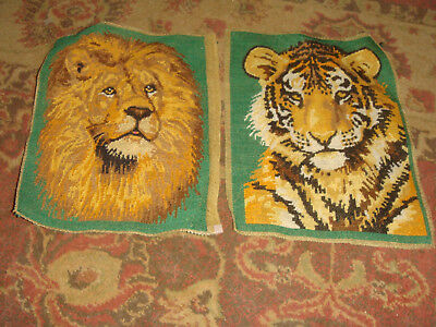 """Pair of Vintage Completed Petit Point Pieces - LION and TIGER - 8"""" x 10 1/4"""""""