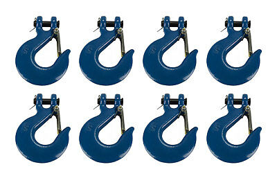 """8x 3/8"""" Chain Slip Safety Latch Hook Clevis Rigging Tow Winch Trailer Grade 70"""