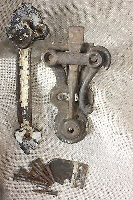 "6 3/4"" Thumb Latch rustic iron barn door old farmhouse handle vintage complete"